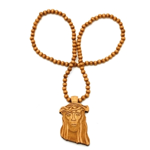 Wooden Jesus Piece Chain (Natural)