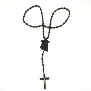 Wooden Jesus Piece & Cross Chain (Black)