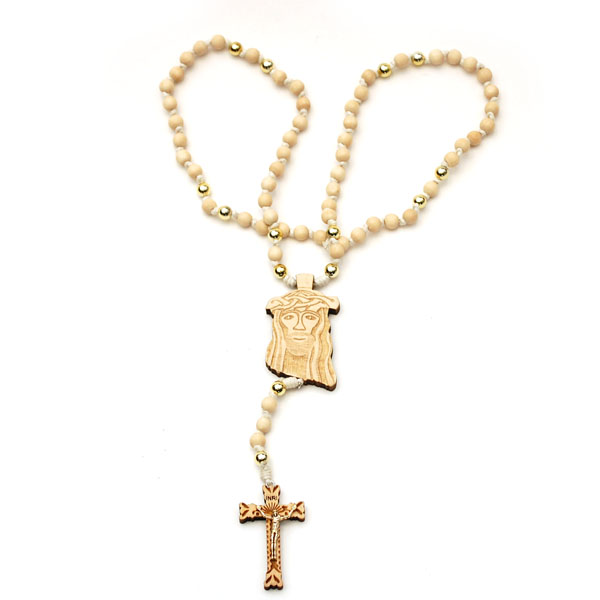 Wooden Jesus Piece & Cross Chain (Natural w/ Gold)