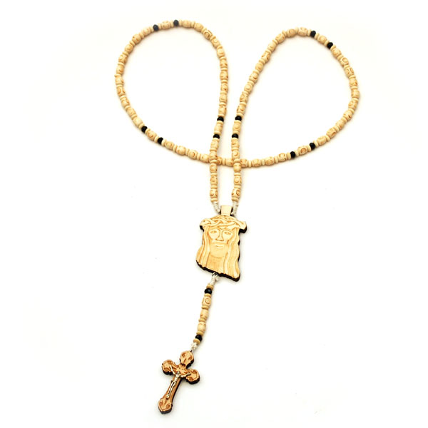 Wooden Jesus Piece & Cross Chain (Natural w/ Black)