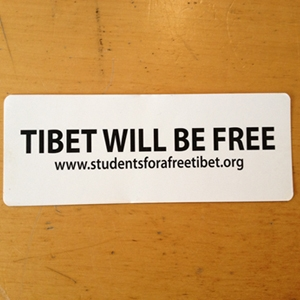 """Tibet Will be Free."" White Sticker"