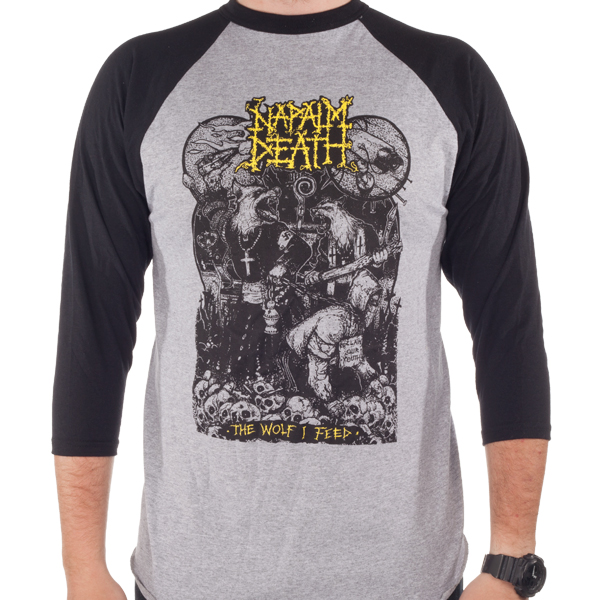 Napalm Death Quot Wolf I Feed Quot Baseball Tee Napalm Death