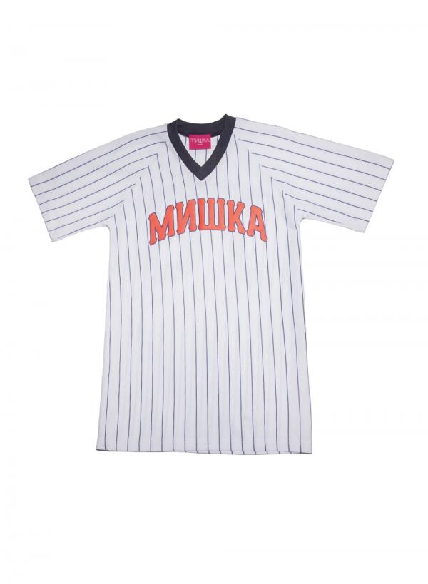 Cyrillic Varsity Pinstrip V-Neck Baseball Jersey