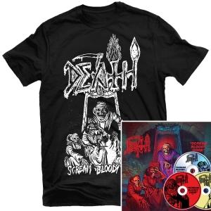 Scream Bloody Gore Line Art T Shirt (Black) + 3xCD Deluxe Bundle