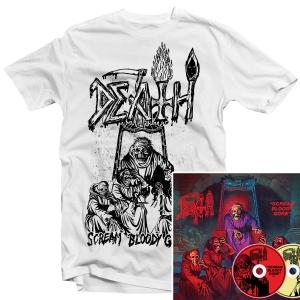 Scream Bloody Gore Line Art T-Shirt (White) + 2xCD Bundle
