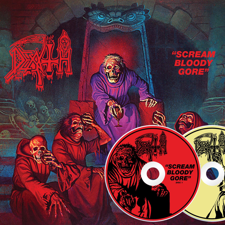 "Death ""Scream Bloody Gore Line Art T-Shirt (White) + 2xCD"