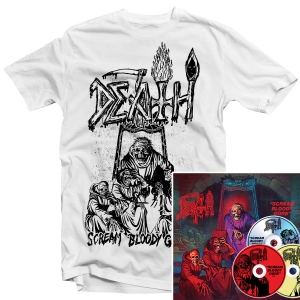 Scream Bloody Gore Line Art T Shirt (White) + 3xCD Deluxe Bundle