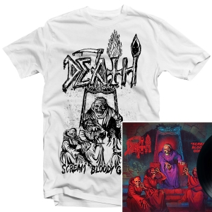 Scream Bloody Gore Line Art T Shirt (White) + LP Bundle