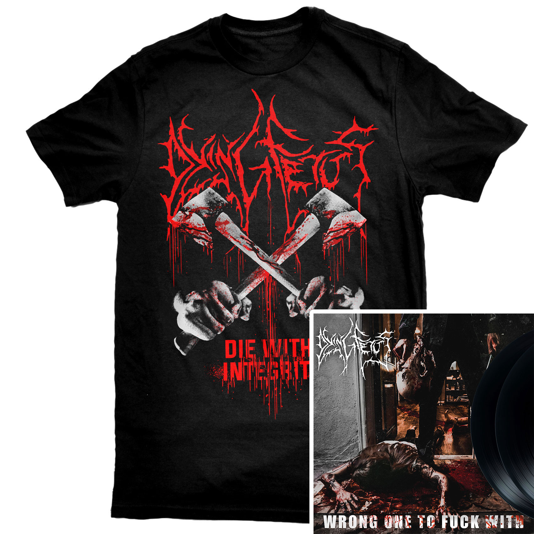 Die With Integrity T Shirt + Wrong One To Fuck With 2LP Bundle