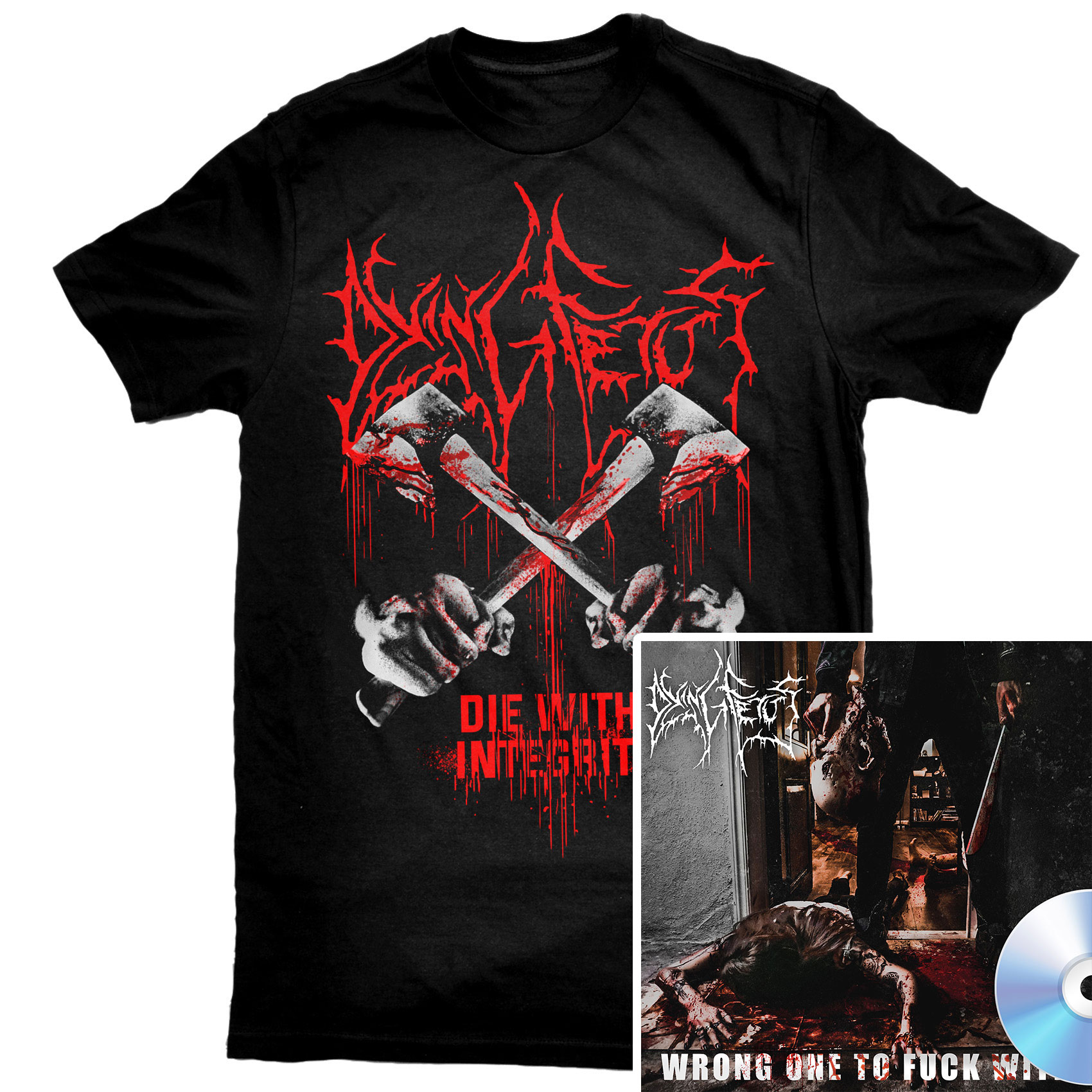 Die With Integrity T Shirt + Wrong One To Fuck With CD Bundle