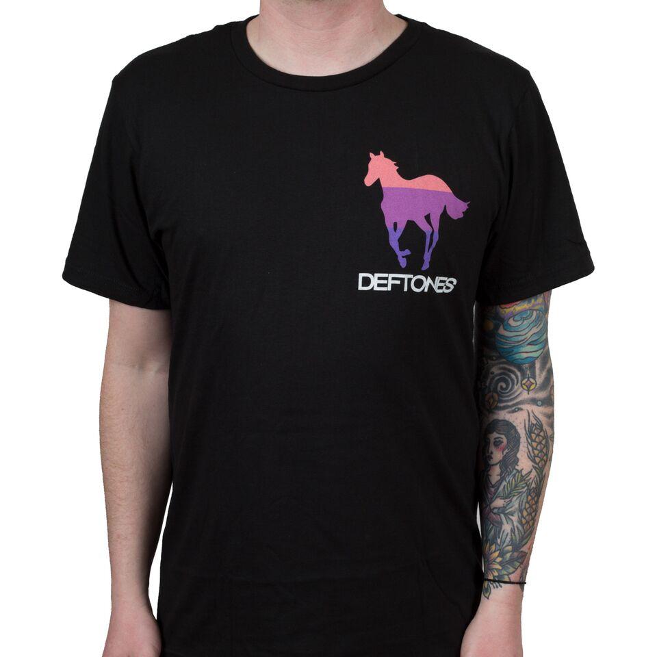 T shirt deftones white pony - Deftones Stripe Pony T Shirts