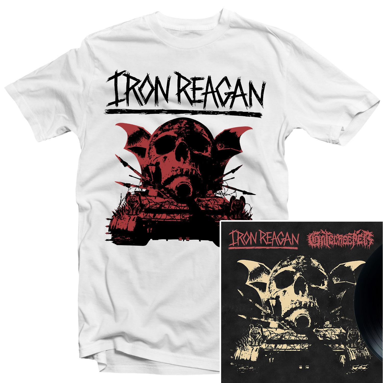 Iron Reagan - Warning T Shirt + Split LP Bundle