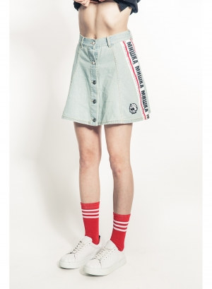 Cyrillic Stripe Denim Skirt