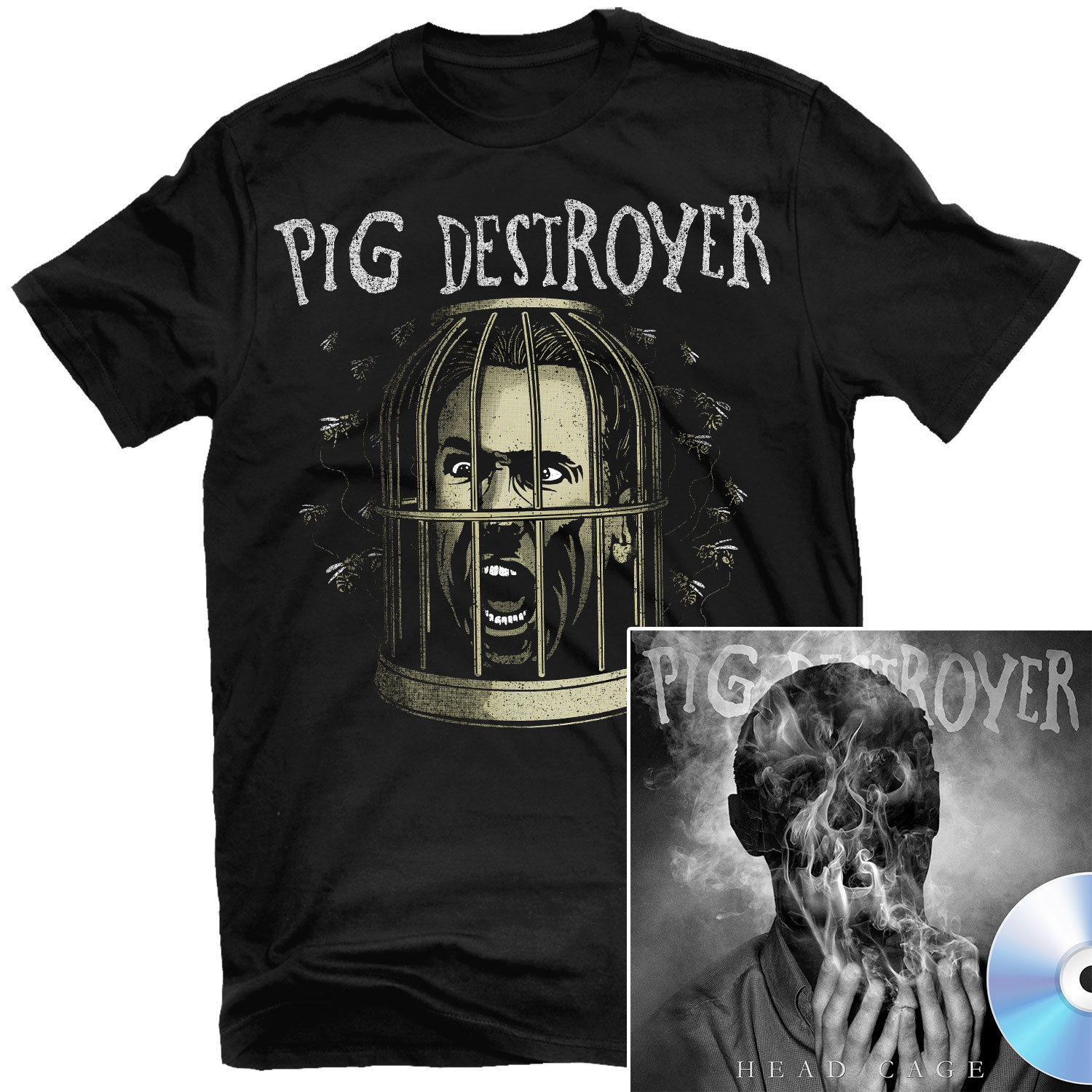 Cage Head T Shirt + Head Cage CD Bundle