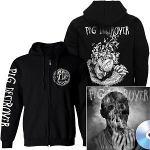 Jef Whitehead Design Zip Up Hoodie + Head Cage CD Bundle