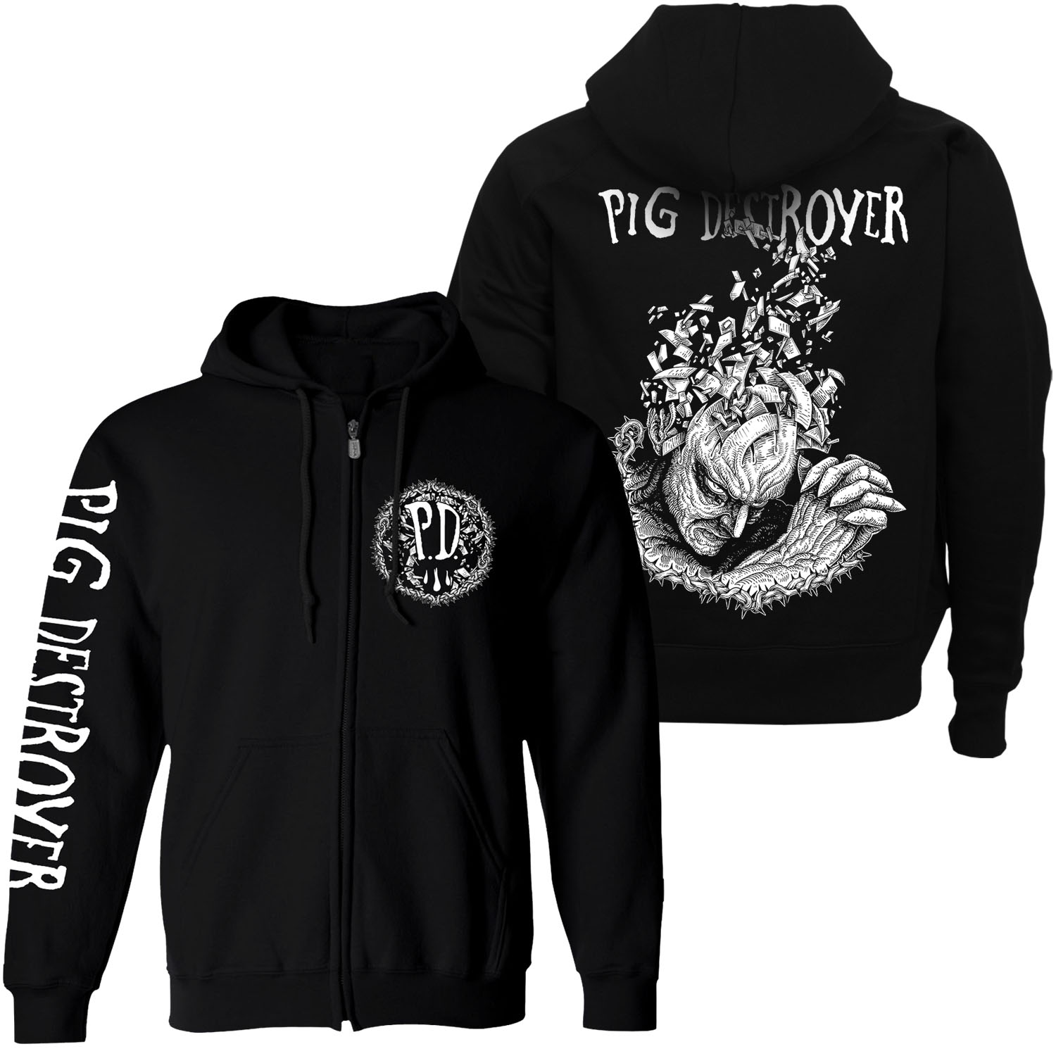 Jef Whitehead Design Zip Up Hoodie + Head Cage LP Bundle