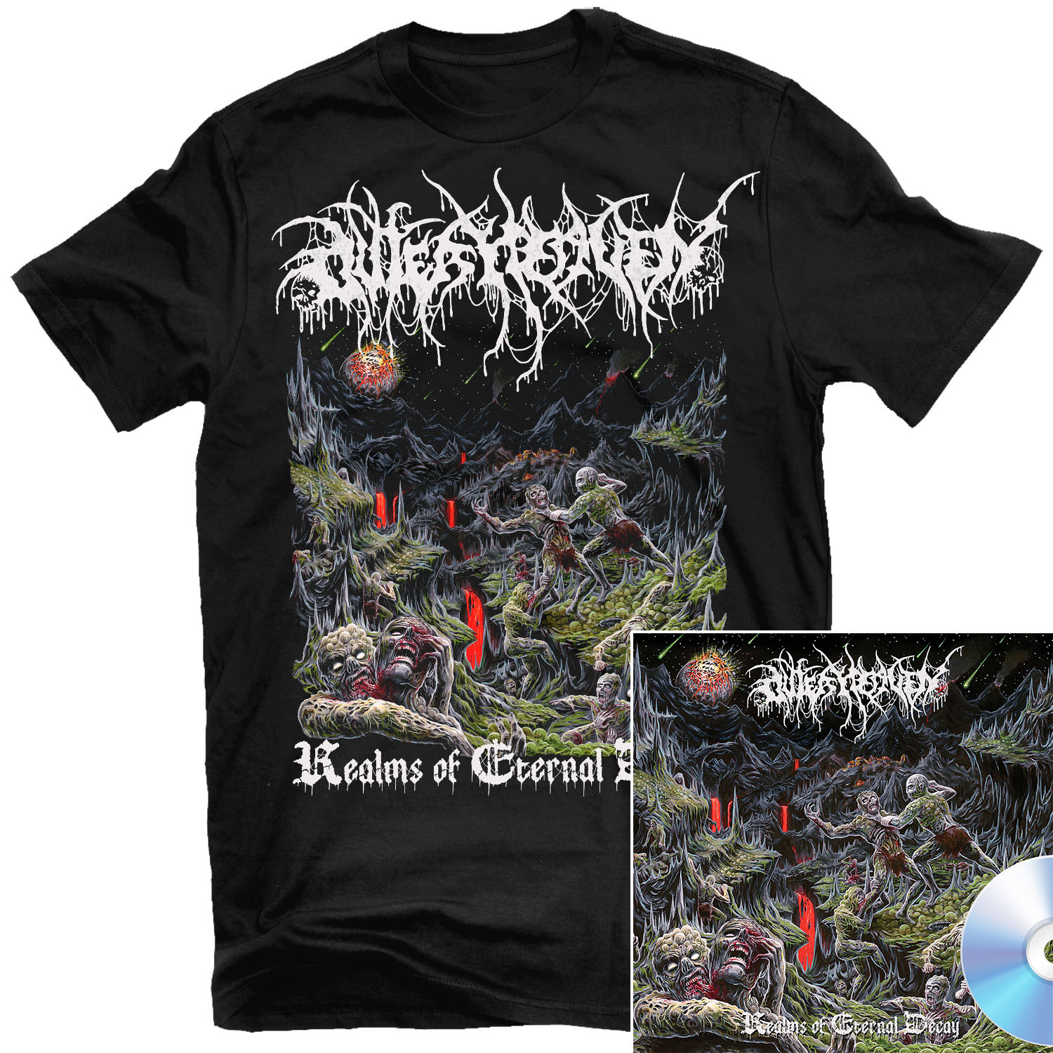 Realms Of Eternal Decay T Shirt + CD Bundle