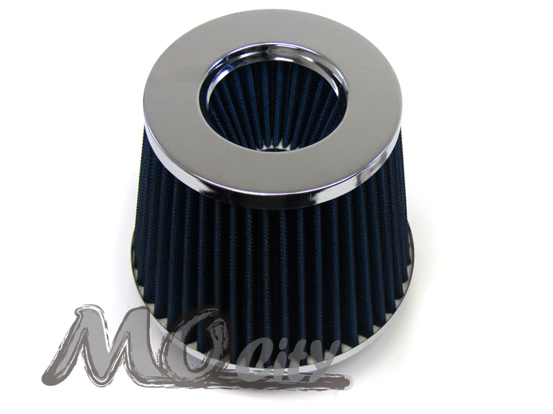 """BLUE UNIVERSAL 3/"""" 76mm FLANGE DRY AIR FILTER FOR BMW AIR INTAKE+PIPE"""