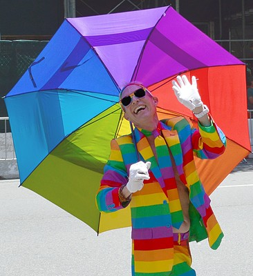 Rainbow man with umbrella