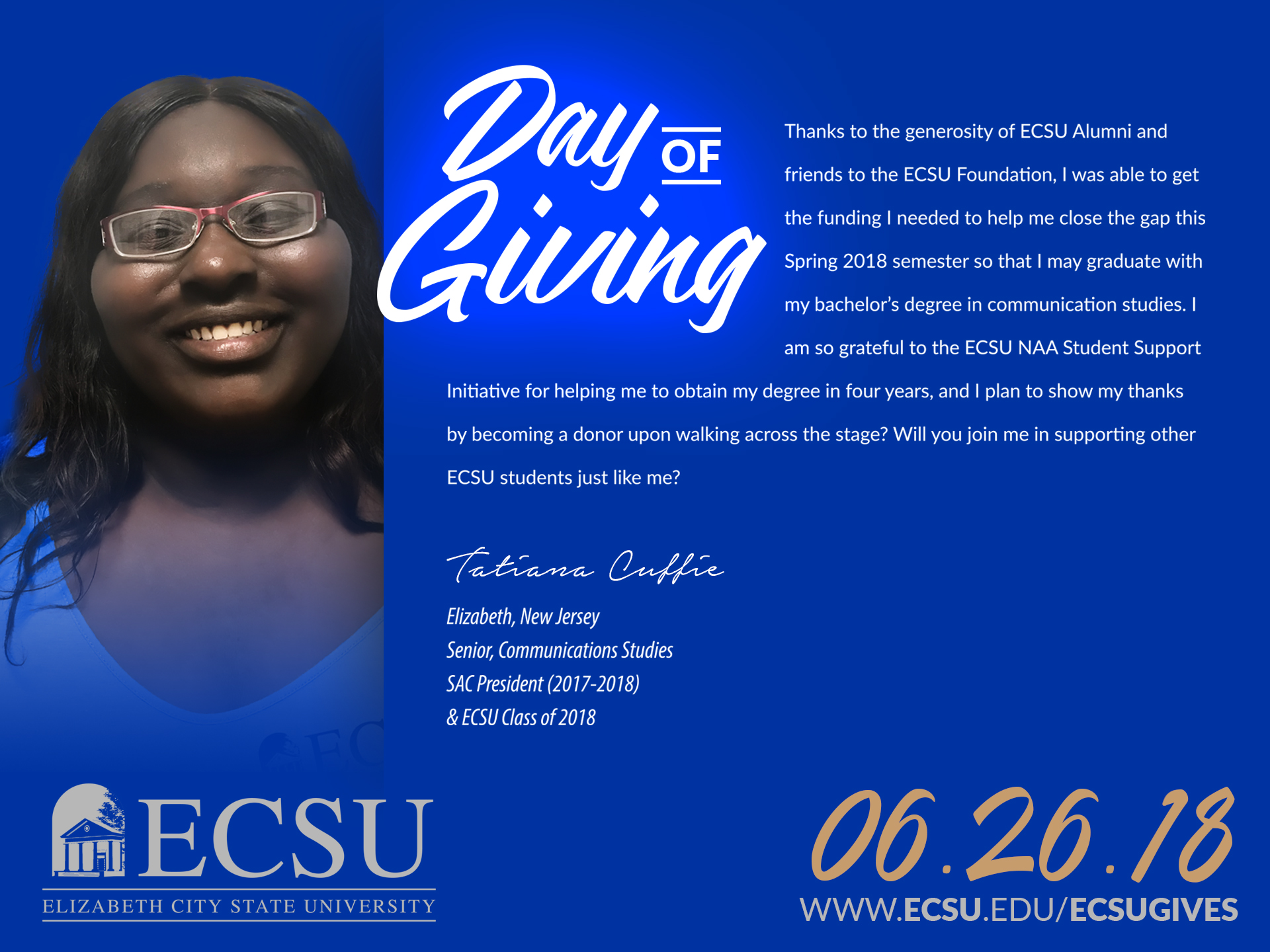 Ecsu day of giving student message5