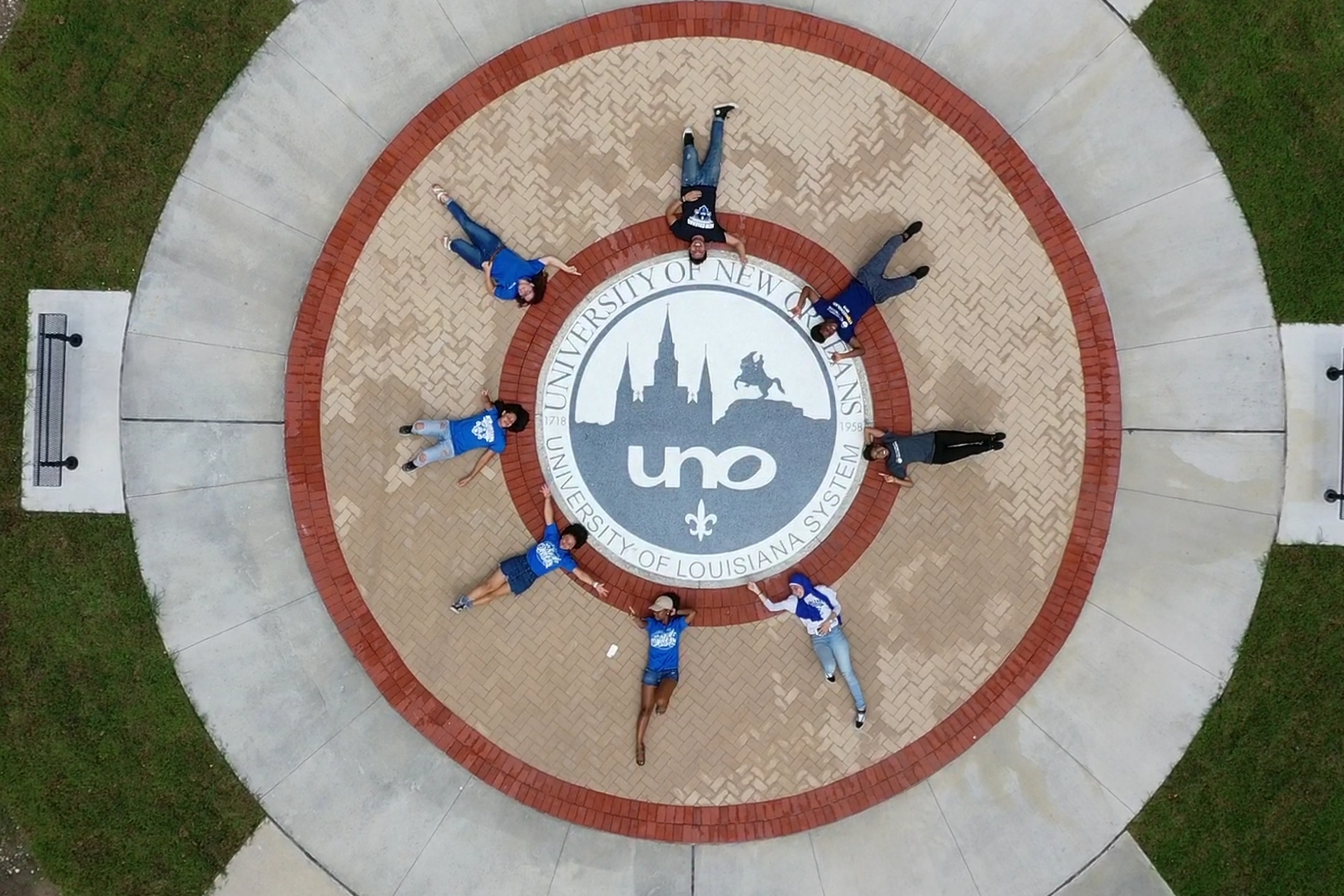 Aerial view uno students