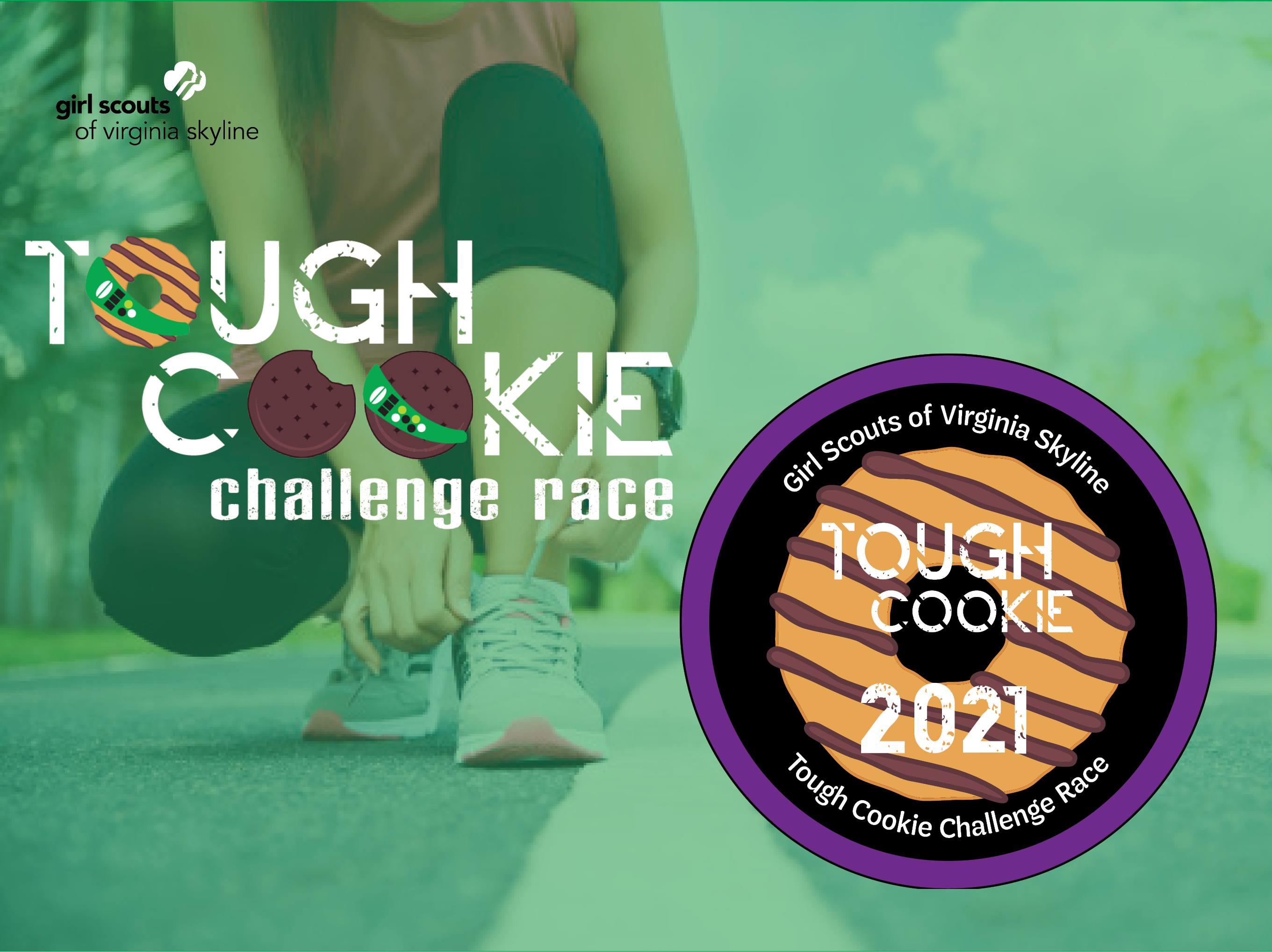 Tough cookie challenge race 2021 mobilecause background with patch previous logo