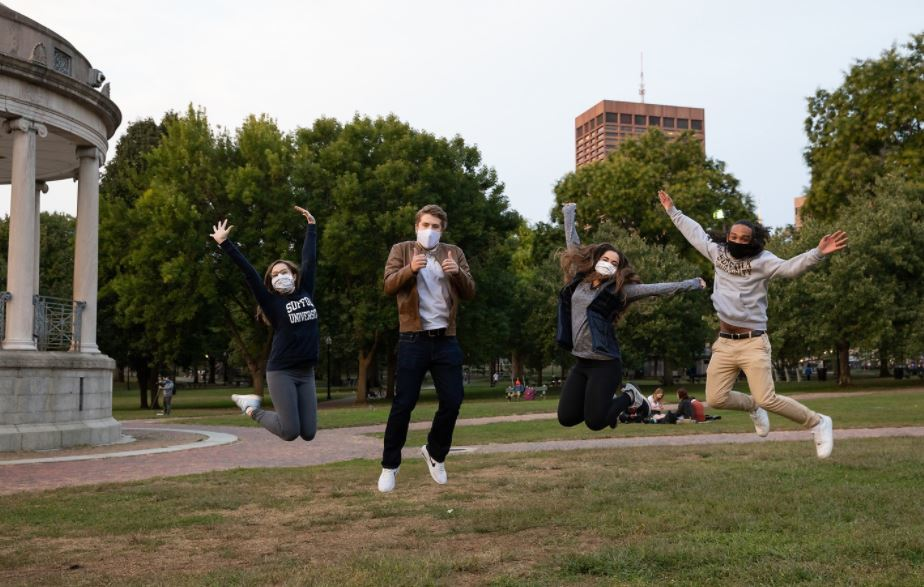 Student jumping mask