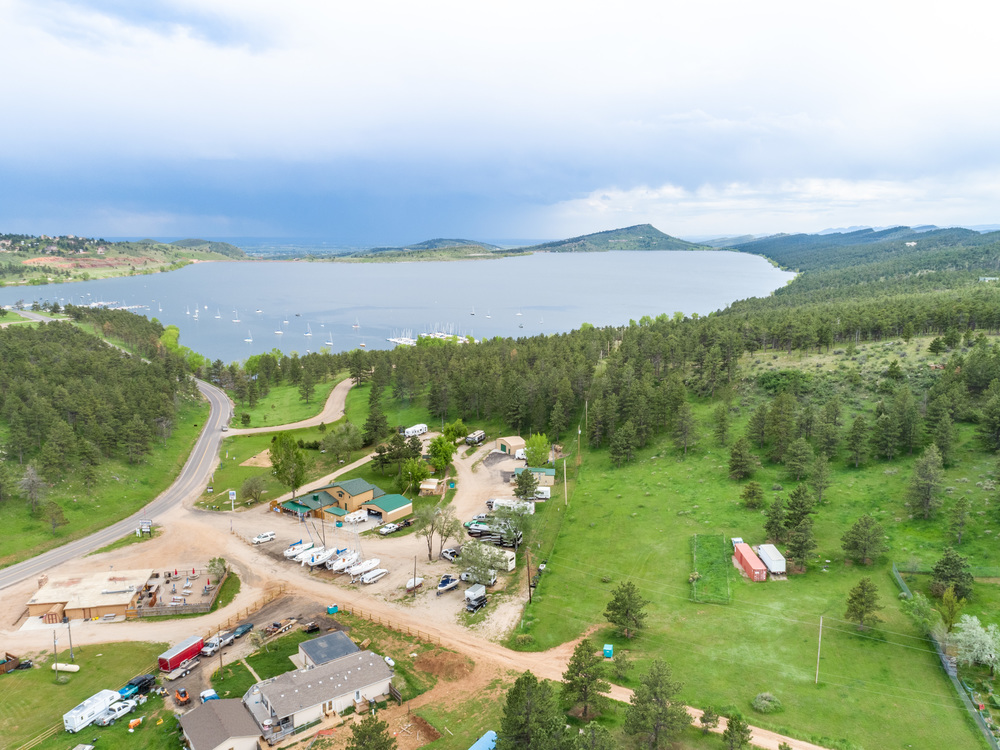 Aerial of the North Shore RV Park and Store with Residence