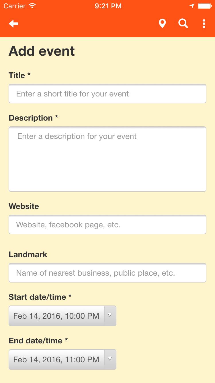 Add event screen top
