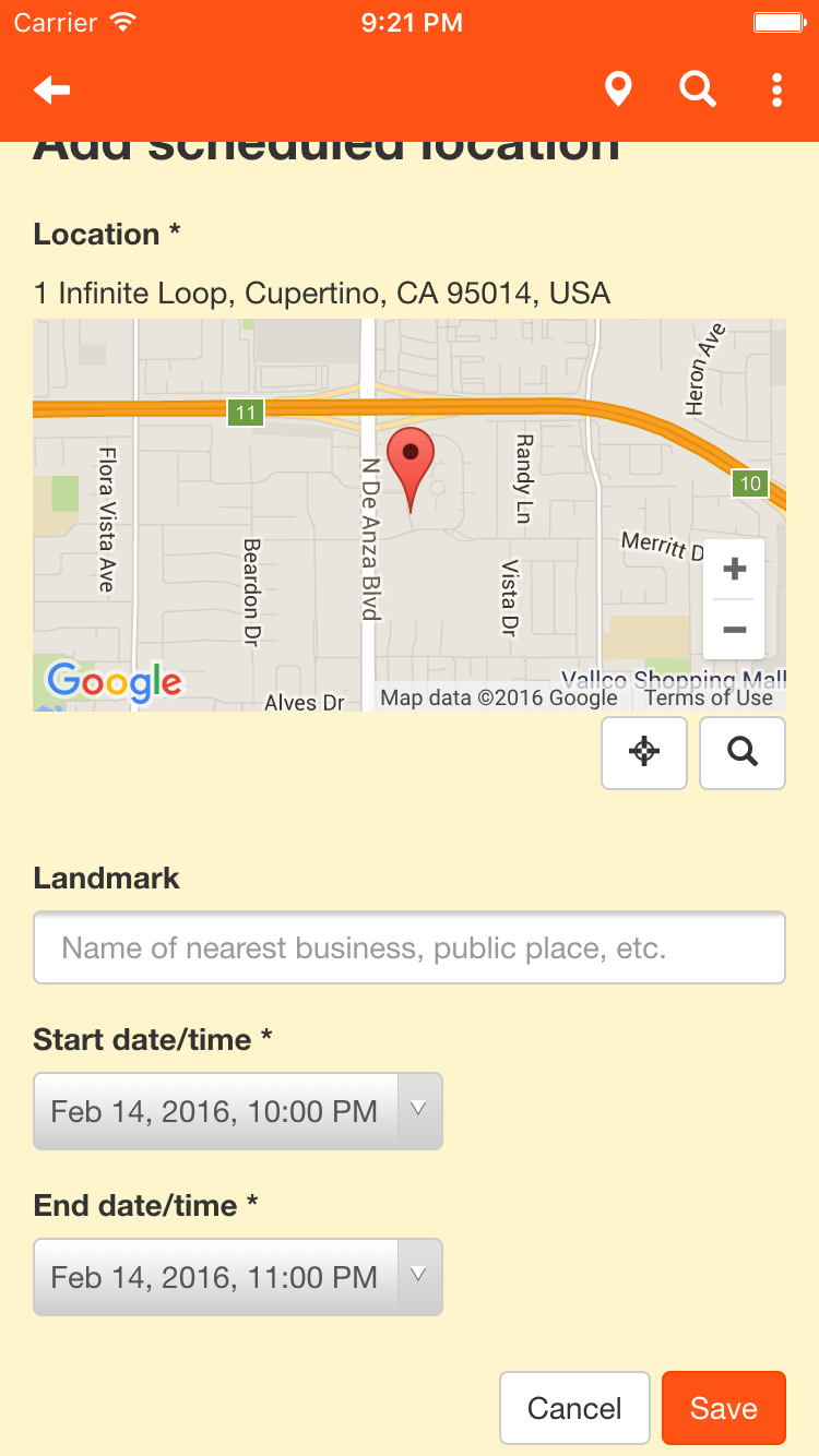 Add schedule item screen 2