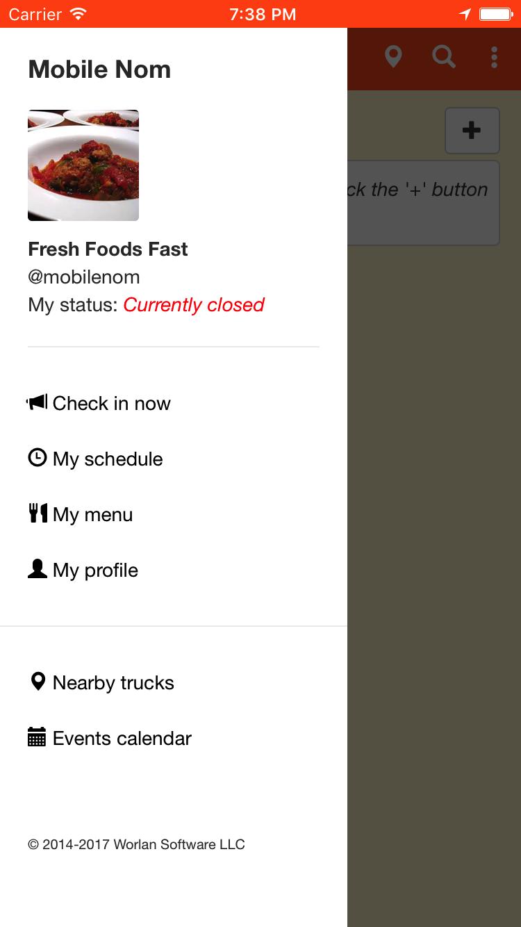 Sidebar menu for trucks