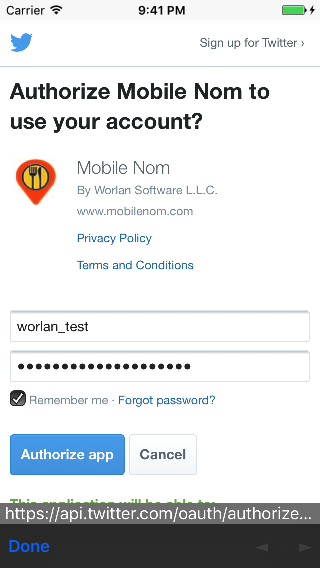 Twitter credentials entry