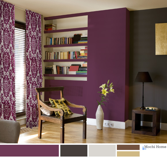 Living room color purple home interior design Purple brown living room