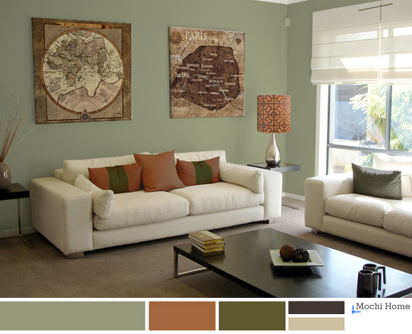 Color study sage green living room ideas mochi home for Green and brown living room walls