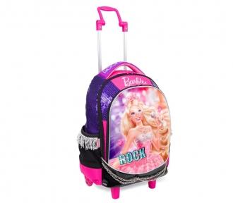 mochilete barbie rockn royals roxo frente