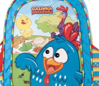 mochila grande galinha pintadinha aventura detalhe