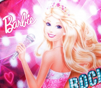 lancheira barbie rockn royals rosa detalhe