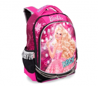 mochila barbie rockn royals rosa grande frente