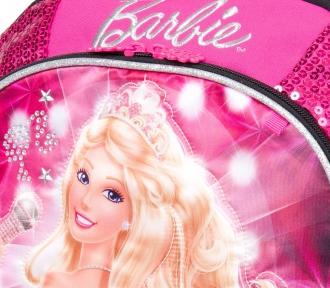 mochila barbie rockn royals rosa grande detalhe