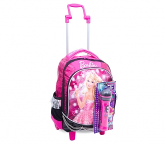 mochilete barbie rockn royals rosa média frente
