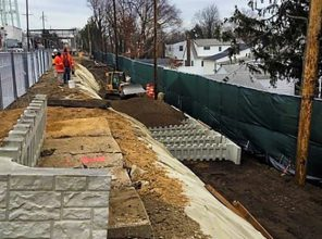 Installing temporary Access Ramp at Carle Place Station 12-20-18