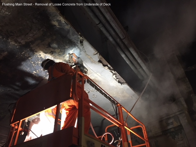 Flushing Main Street - Removal of Loose Concrete from Underside of Deck