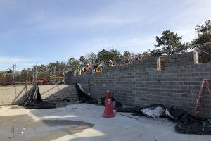 Mid Suffolk Yard - Laying CMU Block at Material Storage Building 01-03-19