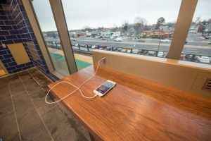 Technology Counter in Platform Waiting Room at Bellmore Station - 01-29-19
