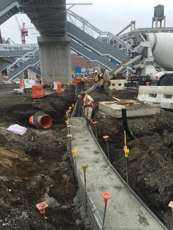 Concrete placement for a communications ductbank that will service the Mid-Day Storage Yard in Queens. 04-12-19