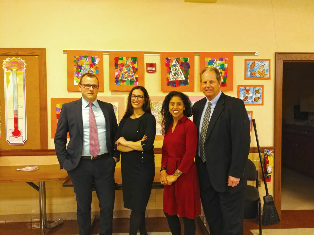 Andy Kraus, 3TC's community ambassador to Garden City, joins 3TC's Travis Brennan and LIRR Government & Community Affairs Managers Ryan Attard and Vanessa Lockel at a community meeting in Garden City in March.
