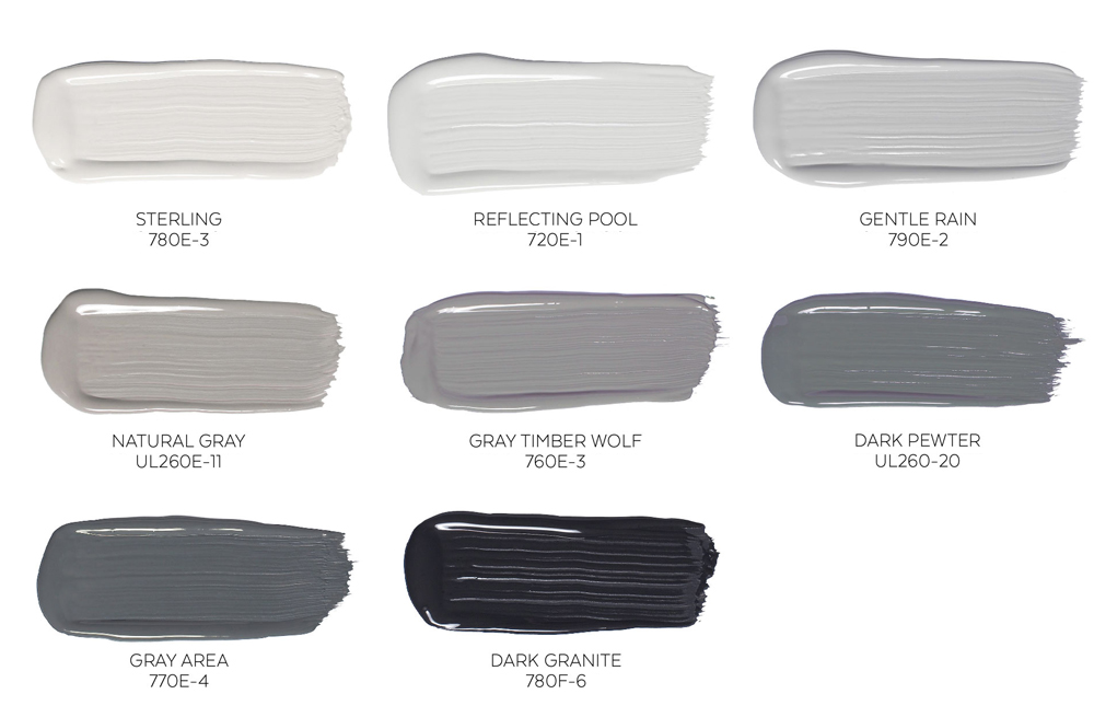 This photograph below shows a selection of beautiful grays by BHER paint. A  carefully chosen combination of 2 to 3 shades can give a room or hallway an  ...