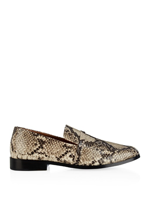 Melanie Snake-Effect Leather Loafers