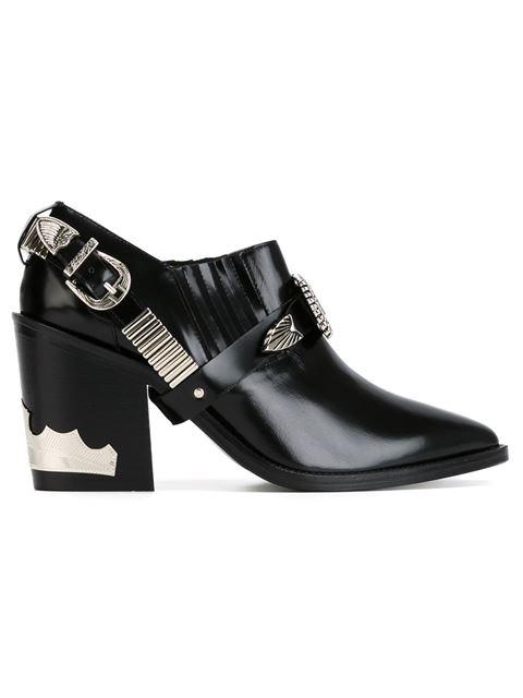 Black Heeled Western Harness Boots