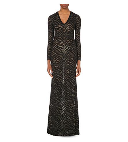Leopard-Knit Stretch-Knit Gown